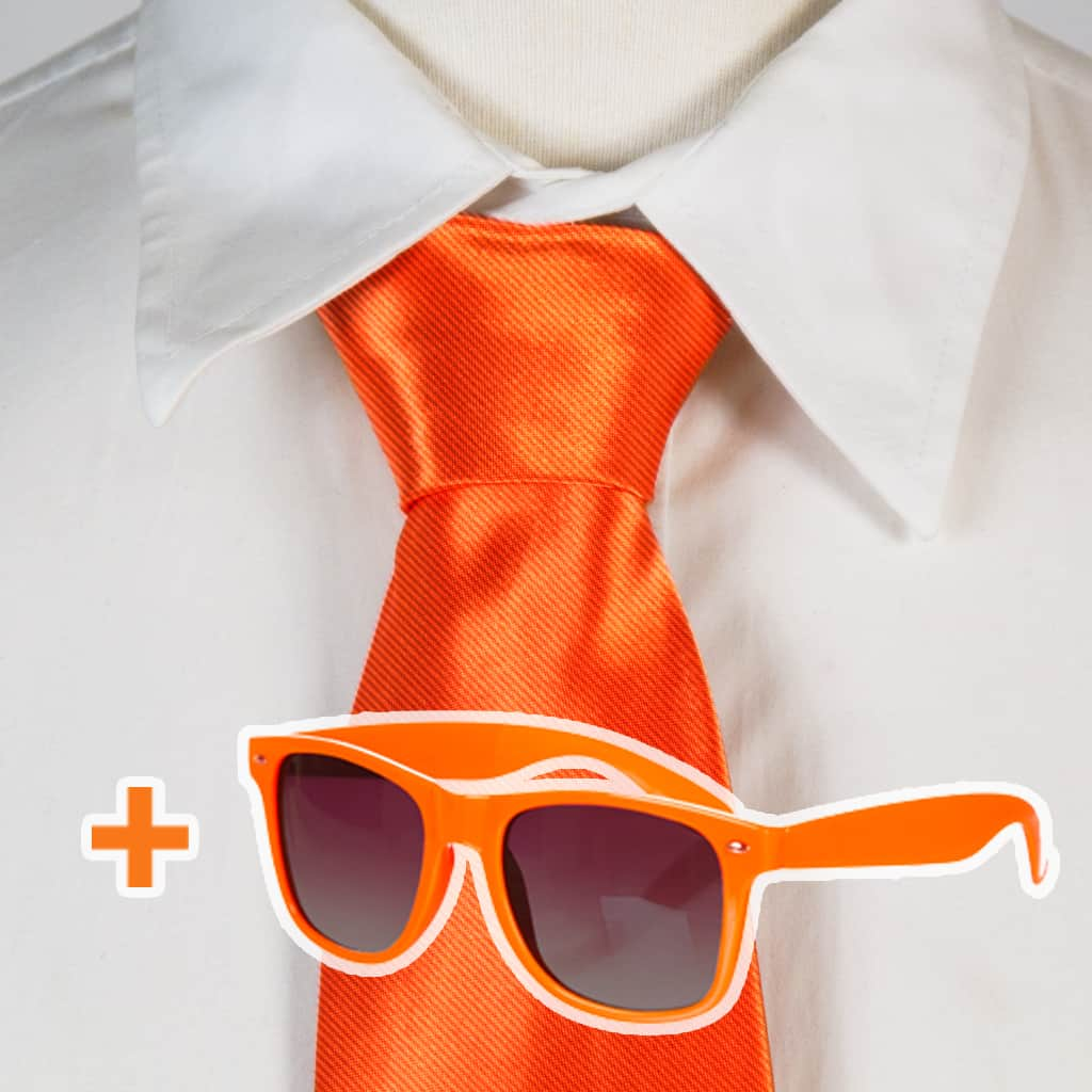 ae01c5232ee7fb Actie  Oranje Stropdas + Oranje Zonnebril
