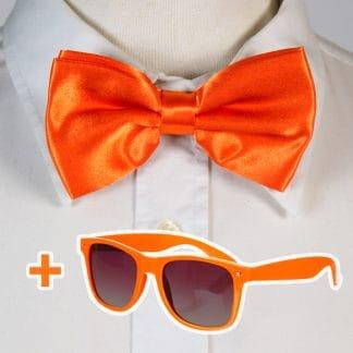 65e7b93716da22 Actie  Oranje Vlinderdas + Oranje Zonnebril